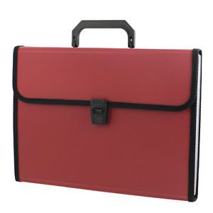 Red 13 Slots Rectangle Paper Document File Holder Organizer Bag