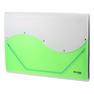 Green White 13 Pockets Rectangle Paper Document File Holder Organizer Bag