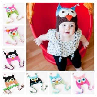 Fashion Cute Baby Boy Girl Toddler Owls Knit Crochet Hat Beanie Cap 9 Colors