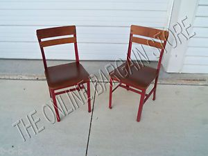 2 Pottery Barn Kids Vintage Schoolhouse Wood Metal Play Desk Red Table Chairs