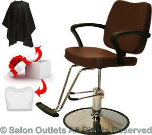 Hydraulic Brown Leatherette Barber Chair Styling Hair Beauty Spa Salon Equipment