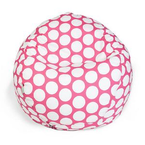 Large Polka Dot Bean Bag Chair for Kids Hot Pink White Small from Brookstone