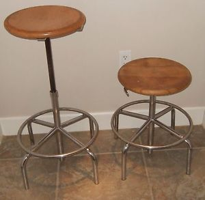 2 Vtg Industrial Stool Swivel Chair Mid Century Modern Steel Wood Adjustable 60s