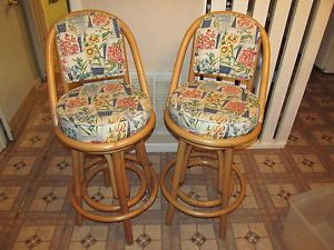 Good Pair of High Quality 2 Rattan Bar Stools Beautifully Upholstered