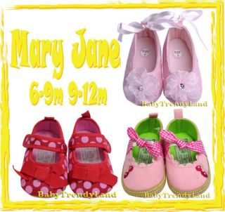 New Red Pink Toddler Baby Girls Infant Mary Jane Crib Shoes 6 9M 9 12M