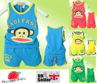 Vest Suit Summer New Cute Little Monkey Baby Girl Boy Clothes for 1 4 Years