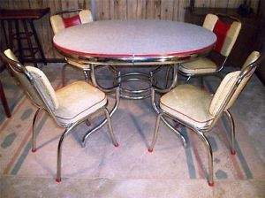 RARE Vintage Formica Chrome Retro Art Deco Kitchen Table Chairs 1950s Modern