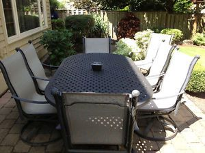 Hampton Bay 9 Piece Sling Patio Dining Set with High Back Swivel Rocker Chairs
