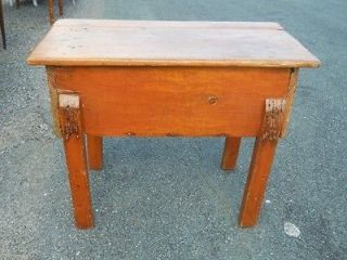 Antique 18th Century Pine Dough Box on Stand Early Paint Central Virginia