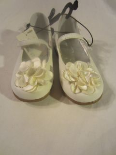 Toddler Girls White Dress Shoes Floral Accent by Falls Creek Size 6