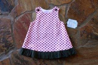 Remember Nguyen Pink Polka Dot Dress 18 Months mths Girls Brown Corduroy