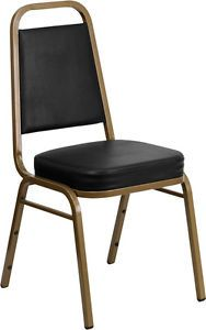 Heavy Duty Stacking Banquet Dining Restaurant Chair Thick Black Padded Seat 174