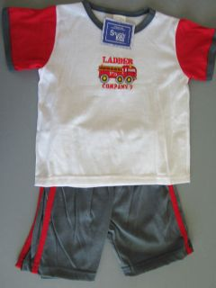 Toddler Boys Shorts Outfit Set Red White Gray Fire Truck Size 2T 4T