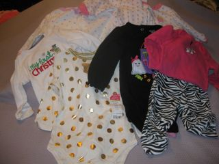 7 Piece Lot 9 Month Infant Girls Sleepers Onesies Pants