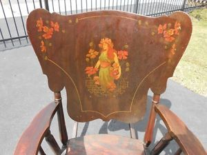 Antique Vintage Victorian Figural Art Nouveau Woman Lady Rocking Chair Rocker