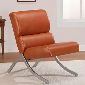 Contemporary Modern Rust Faux Leather Chairs Living Room Bedroom Accent Club New