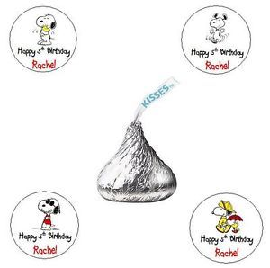 120 Snoopy Dog Custom Birthday Party Baby Shower Kiss Personalized Labels Favors
