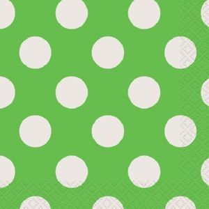 Lime Green Polka Dots 16 Small Napkins Party Supplies Birthday Wedding Baby