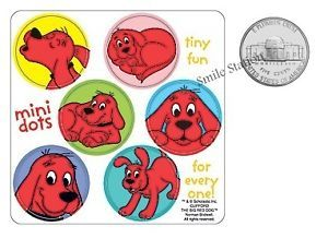 12 Clifford The Big Red Dog Dot Stickers Kids Party Goody Loot Bag Favors Supply