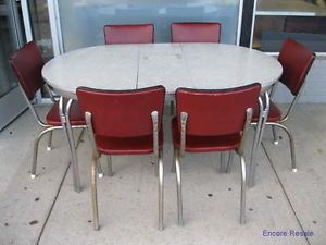 Vintage Mid Century Modern Art Deco Chrome Formica Table w 6 Chairs Leaf