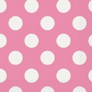Hot Pink Polka Dots 16 Large Napkins Party Supplies Birthday Wedding Baby