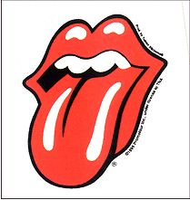 Rolling Stones Small Tongue Sticker White Square Back