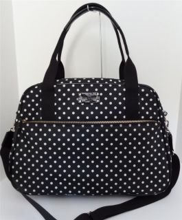 Kate Spade Black Spot Nylon Milla Baby Diaper Bag Tote Travel Duffle $448