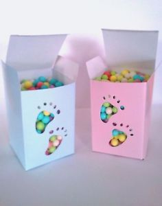 Blue or Pink Footprint Candy Boxes Baby Toes Feet Shower Party Supplies Favors
