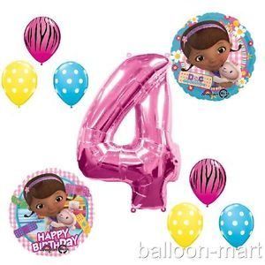 4th Birthday Doc McStuffins Balloons Girls Party Supplies Hot Pink Zebra Fourth
