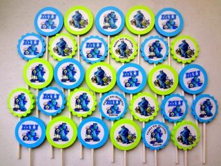 30 Monster University Personalized Cupcake Toppers Birthday Party Favors