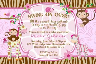 Whimsical Monkey Jungle Girl Giraffe Zebra Baby Shower Invitations