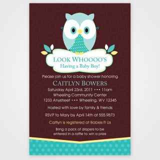 Woodland Forest Owl Birthday or Baby Shower Invitations Set of 10 Any Color