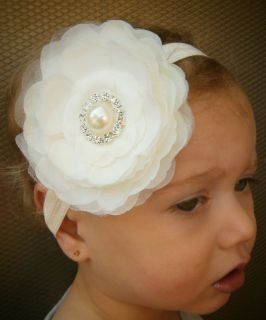 New Baby Girl Toddler Adult Flower Headband with Pearl