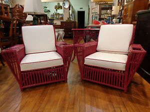 Pair Vintage American Art Deco Ficks Reed Split Reed Stick Wicker Lounge Chairs