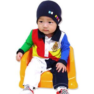 Made in Korea Collar Patch Blocks Baby Boy Girl Infant Clothing OA 959 Navy