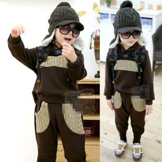 Casual Korean Baby Kid Boy Outfit Sets Hoodie sweat Suit Pants New Hot Comfy 1AD