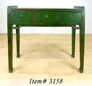 Ming Style Green Lacquer Desk Entry Table Display 3 Drawer Stand New 36x43x14