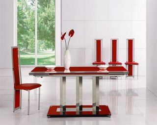 EXTENDING RED GLASS CHROME DINING TABLE AND 6 CHAIRS
