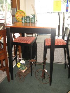 "32"" Square Bar Table by Dinec 3 PC Group High Bar Stools Wood Black Cinnamon"