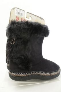 Ladies Black Faux Fur  isotoner  hard soled Woodlands Slippers Boots 7 5 8