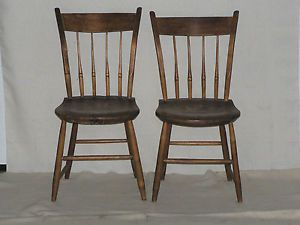 Two Nice Antique Early American Hand Made Wooden Chairs C 1800's Pickup Only
