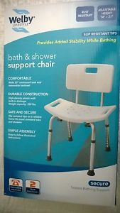 New Welby Bath Shower Chair Heavy Duty w Back 350 lbs White