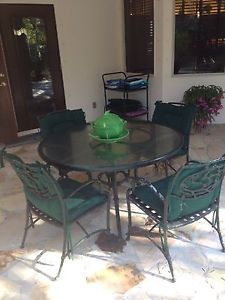 Cast Iron Wrought Iron Patio Furniture Glass Topped Table 4 Chairs