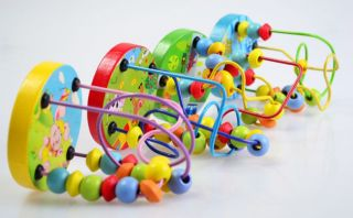 New Kids Child Wooden Toy Mini Around Beads Wire Maze Colorful Educational Games