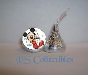 108 Mickey Mouse Baby Boy Shower Party Favors Kiss Candy Wrappers Announcements