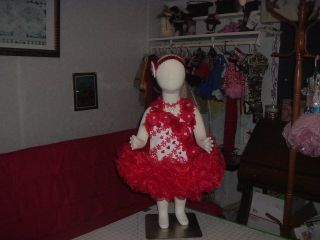Baby Toddler Pageant Glitz Dress Cupcake Janice Jackie Red White Hearts Valentin