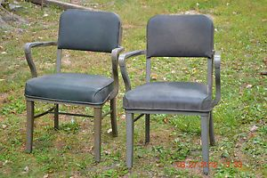 2 Vintage Steelcraft Office Chairs Industrial Machine Age Deco Mid Century