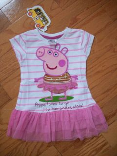 Super Cute Peppa Pig White Pink Stripe Top Tee Tutu 2T 3T 4T 5T 6 7