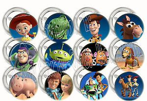 "Disney Toy Story Buzz Lightyear Woody 2"" Large Buttons Pins Party Favors 12"