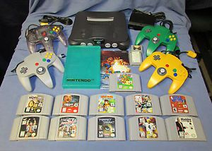 Nintendo 64 N64 System Console 4 Controllers 11 Games Super Mario 64 Bundle Lot